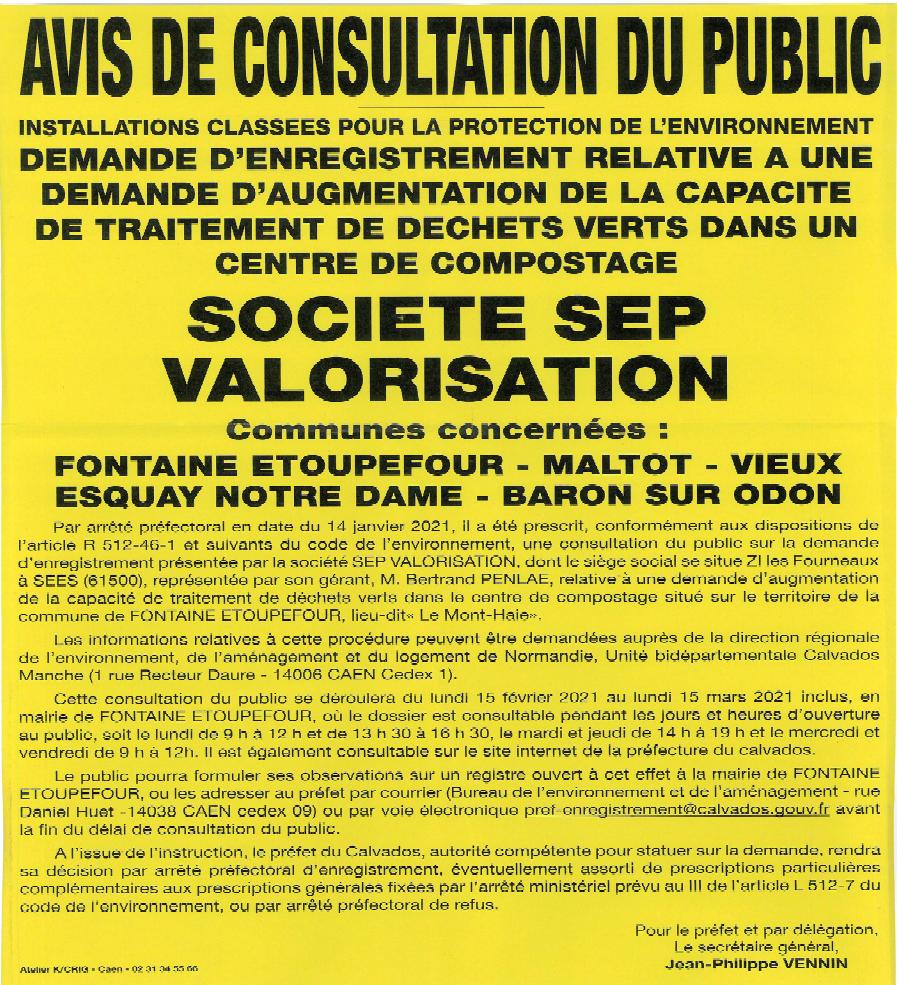 AVIS DE CONSULTATION DU PUBLIC